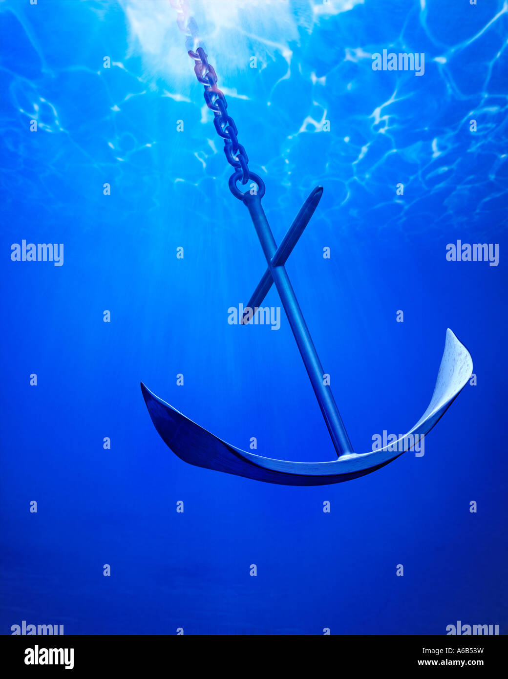 anchor with chain chain anchor symbol of strength security insurance boat ship - Stock Image