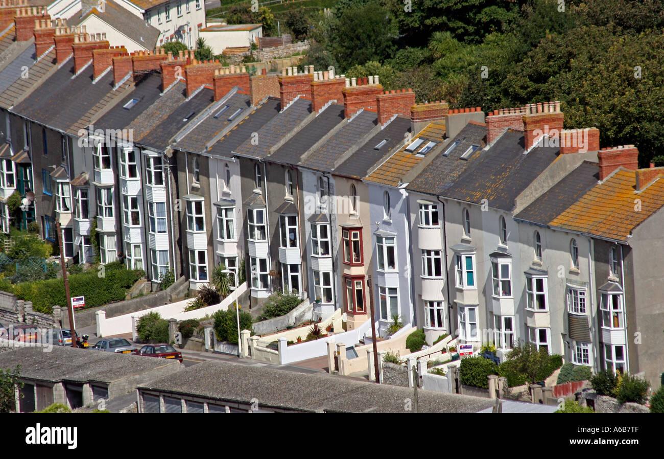 Terraced Houses, Portland, Dorset, UK. Europe - Stock Image