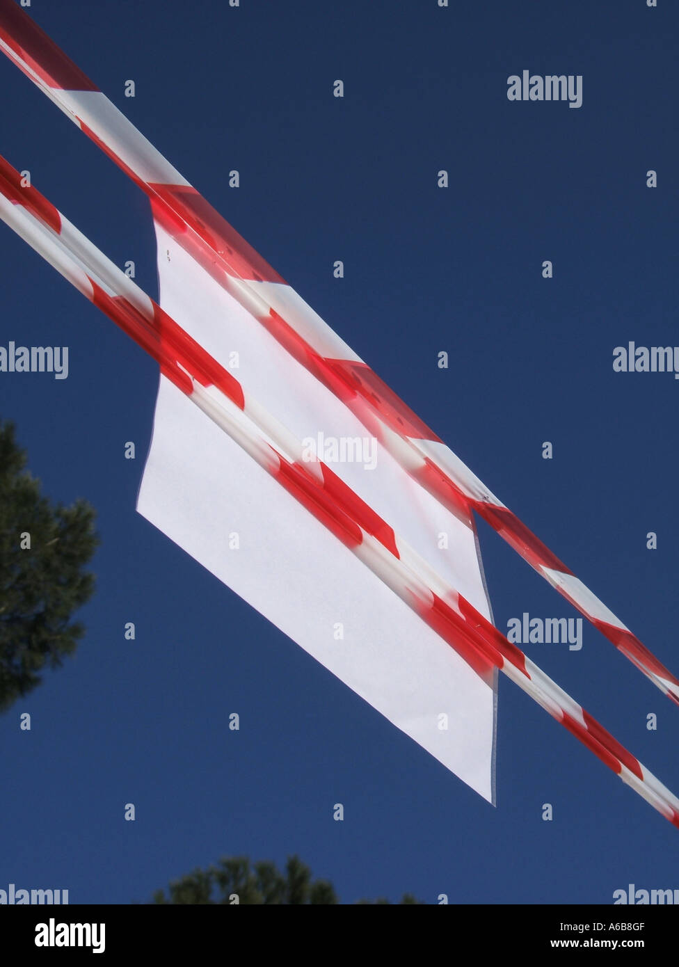 Red White Barrier Warning Tape Stock Photos & Red White