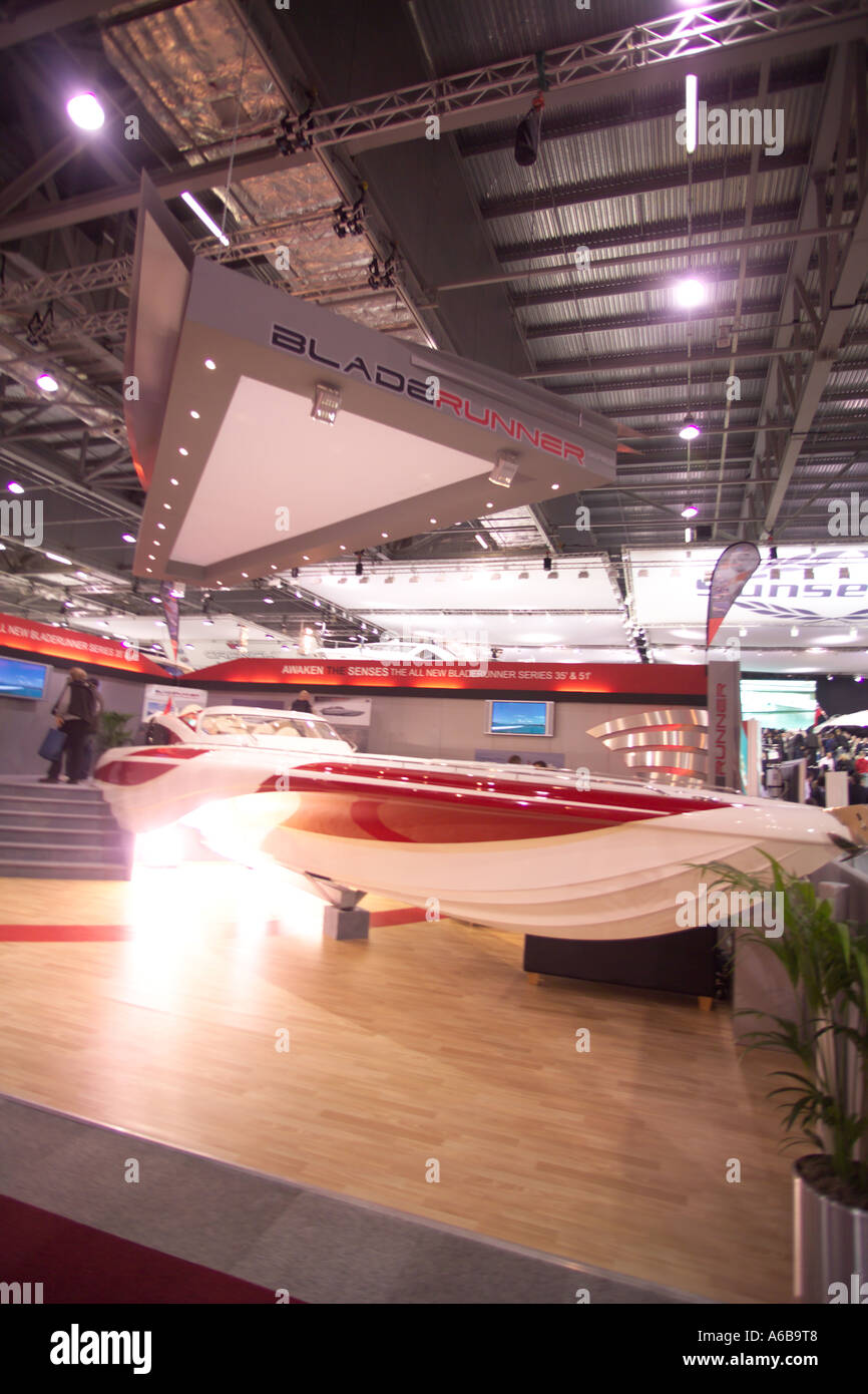The London Boat show blade runner stand fastest round britain boat - Stock Image