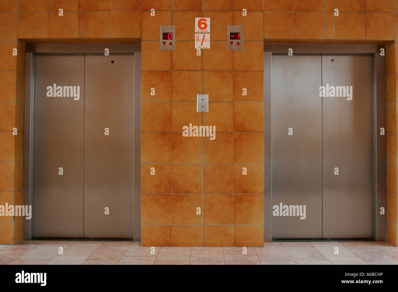 closed doors on a elevator - Stock Image
