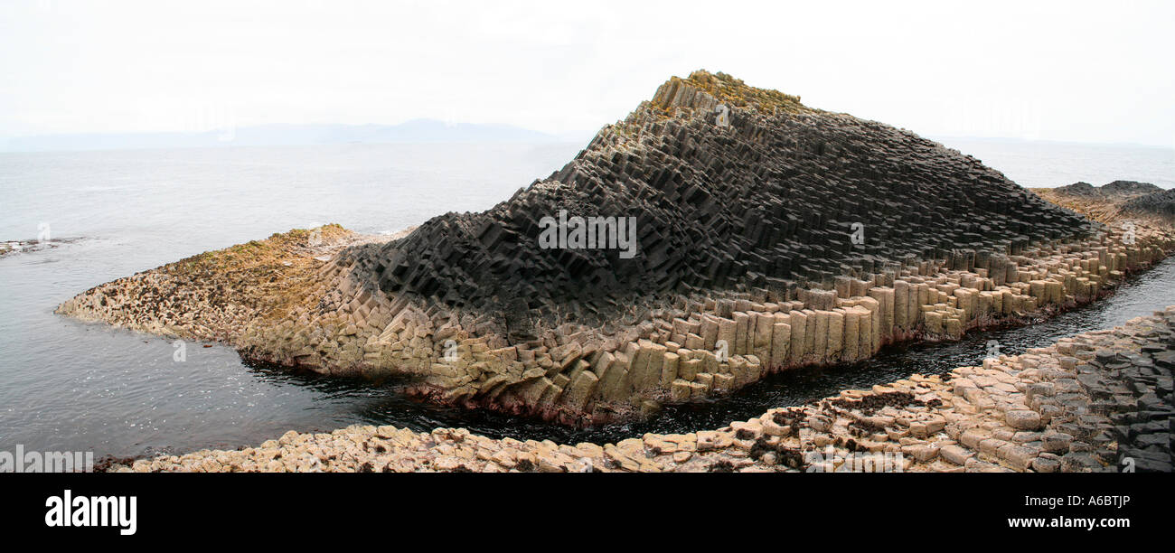 Panoramic of Fingal's Cave, Staffa, Treshnish Isles near Mull, West Coast of Scotland, UK - Stock Image
