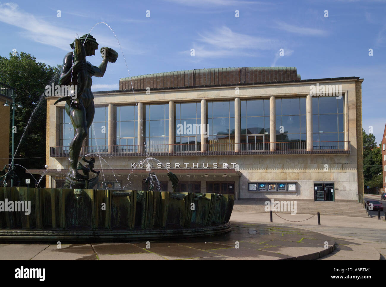 Concert Hall and statue of Poseidon Gothenburg Sweden - Stock Image