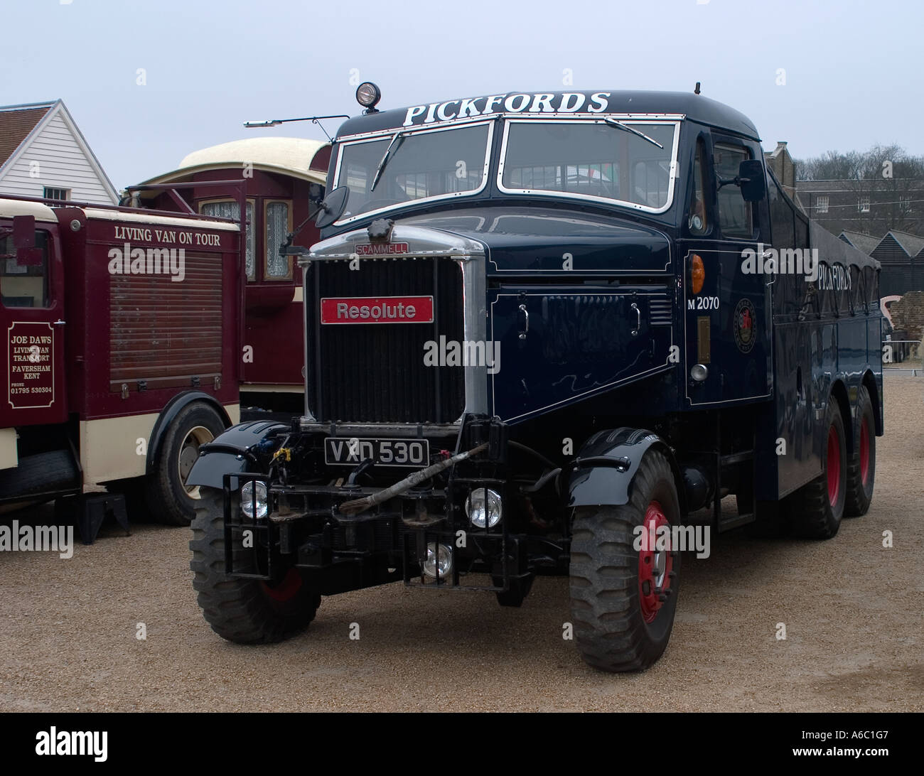 Pickfords Scammell Heavy Goods Haulage Lorry called Resolute at Chatham Docks Vintage Transport Day - Stock Image
