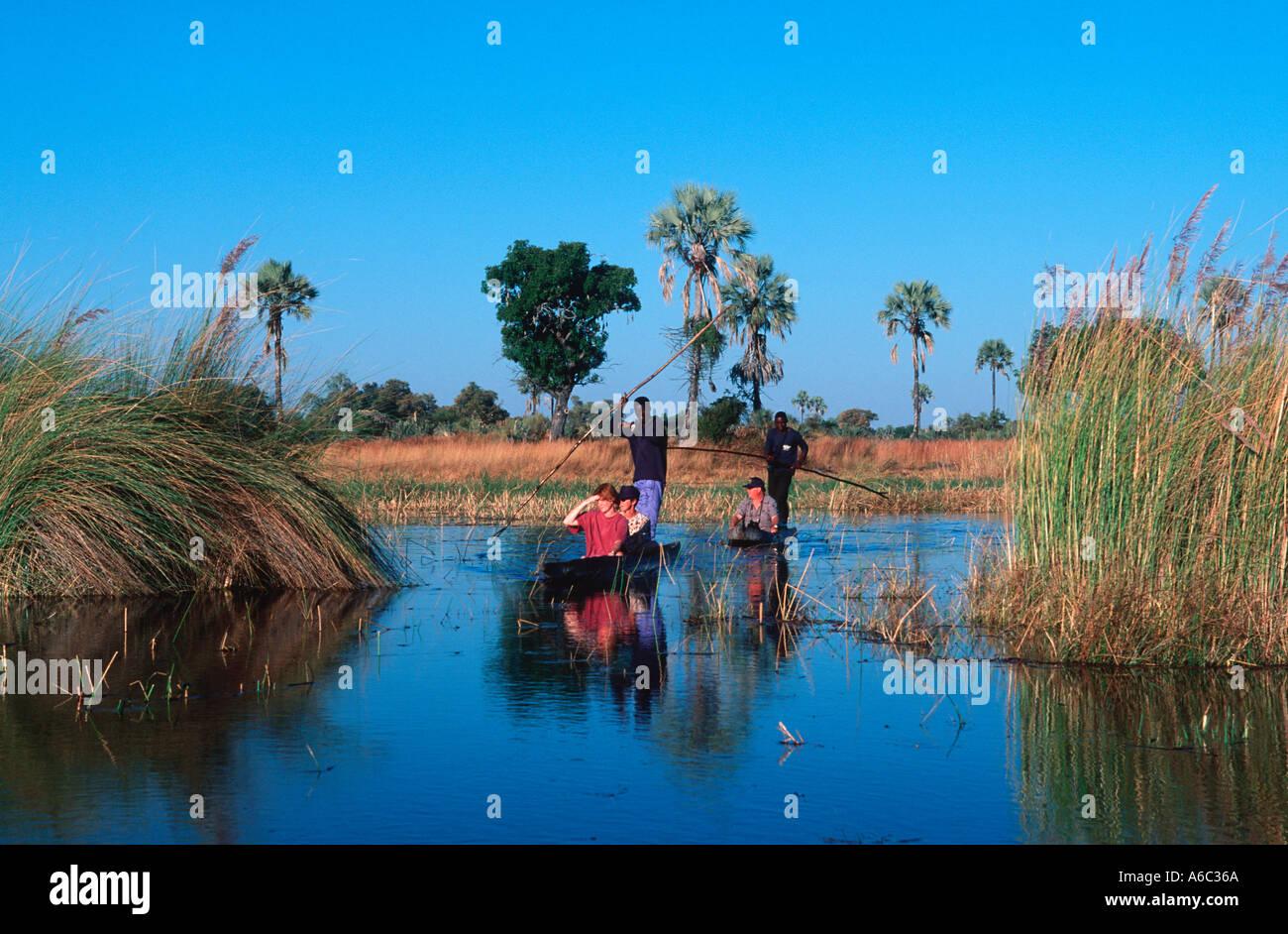 Botswana people Bayei mokoro polers transport tourists along the channels of the Okovango Delta Okovango Botswana - Stock Image