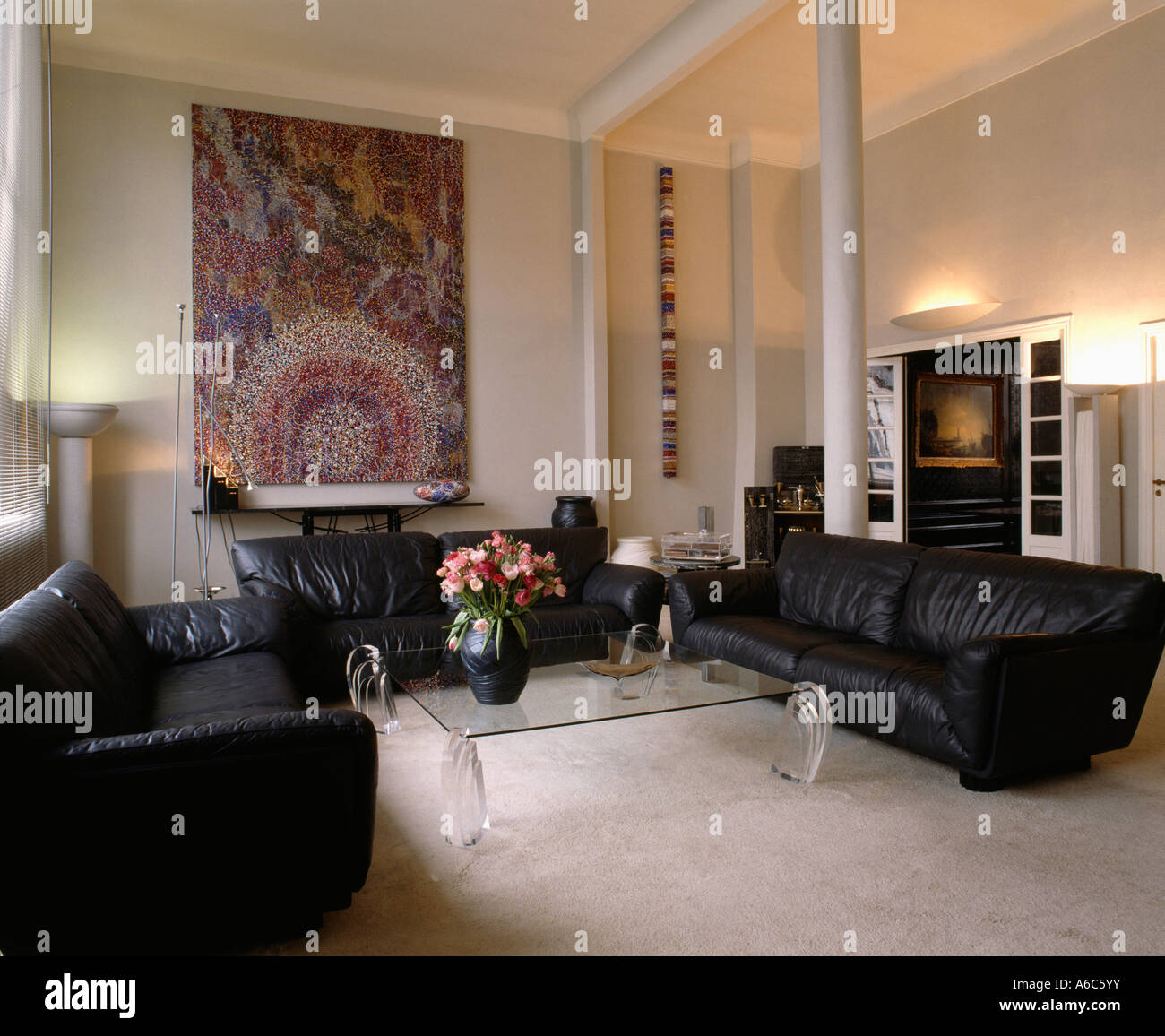 Awesome Large Painting On Wall In Modern Sittingroom With Black Ocoug Best Dining Table And Chair Ideas Images Ocougorg