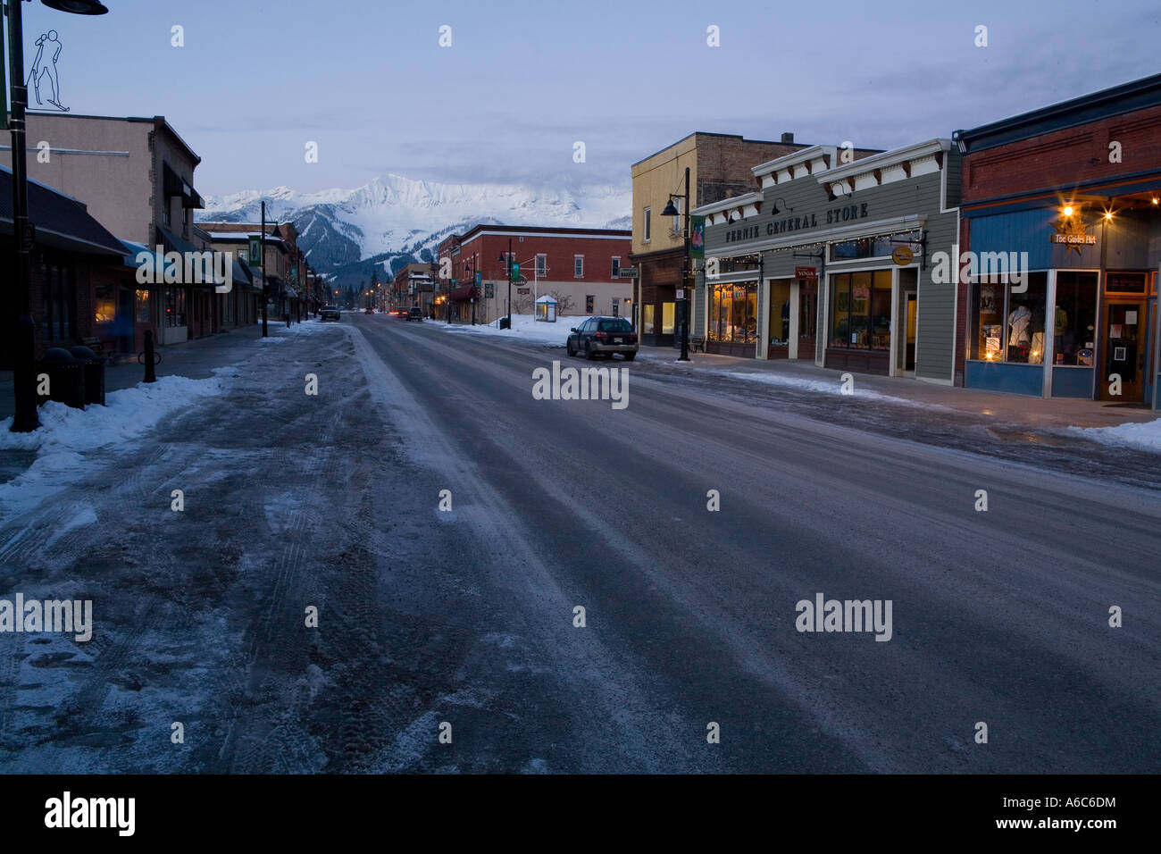Street scenes from Fernie which is a ski town in British Columbia Canada - Stock Image