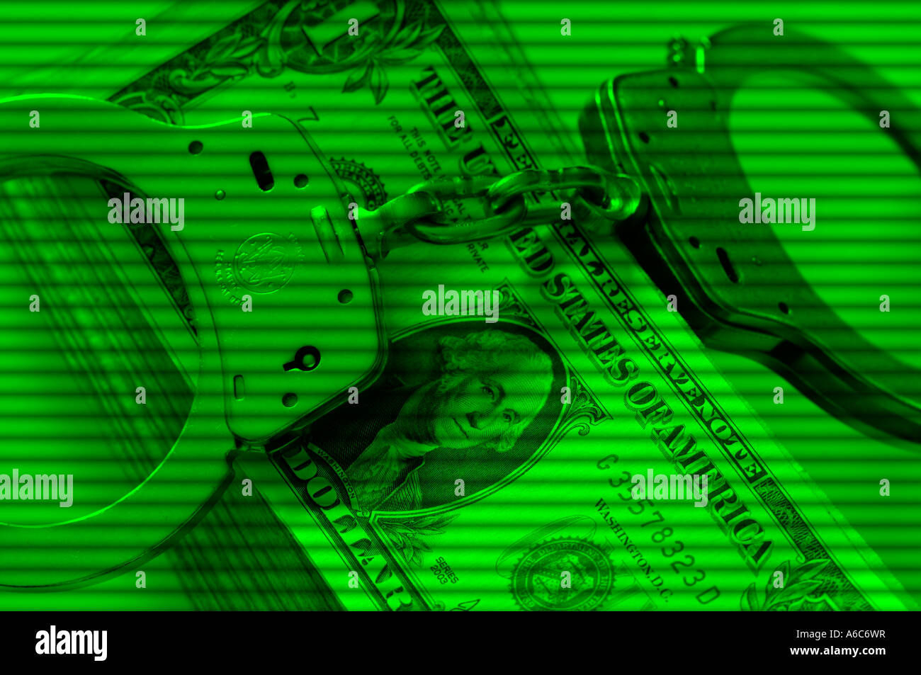 handcuffs and money shown on security camera screen - Stock Image