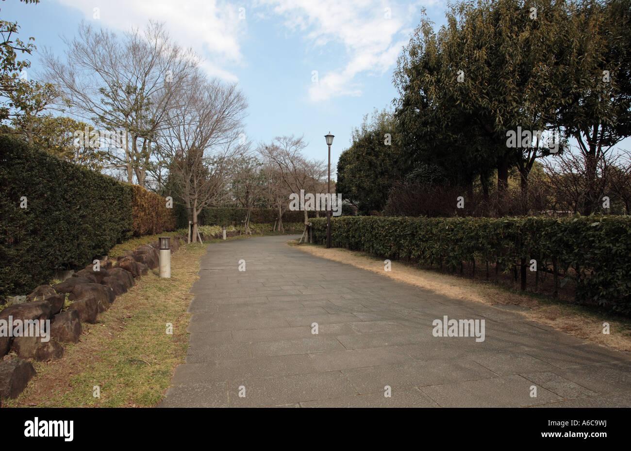 Walkway in Kashiwanoha Park, Kashiwa City, Chiba Prefecture, Japan. Stock Photo
