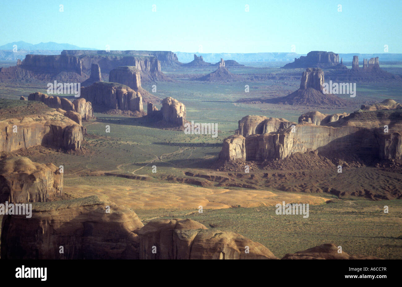 Ariel View Of Monument Valley In The American States Of Utah & Arizona. - Stock Image