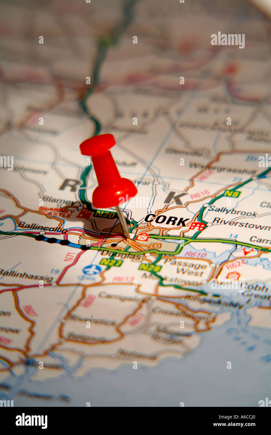 Map pin pointing to cork ireland on a road map stock photo map pin pointing to cork ireland on a road map gumiabroncs Choice Image