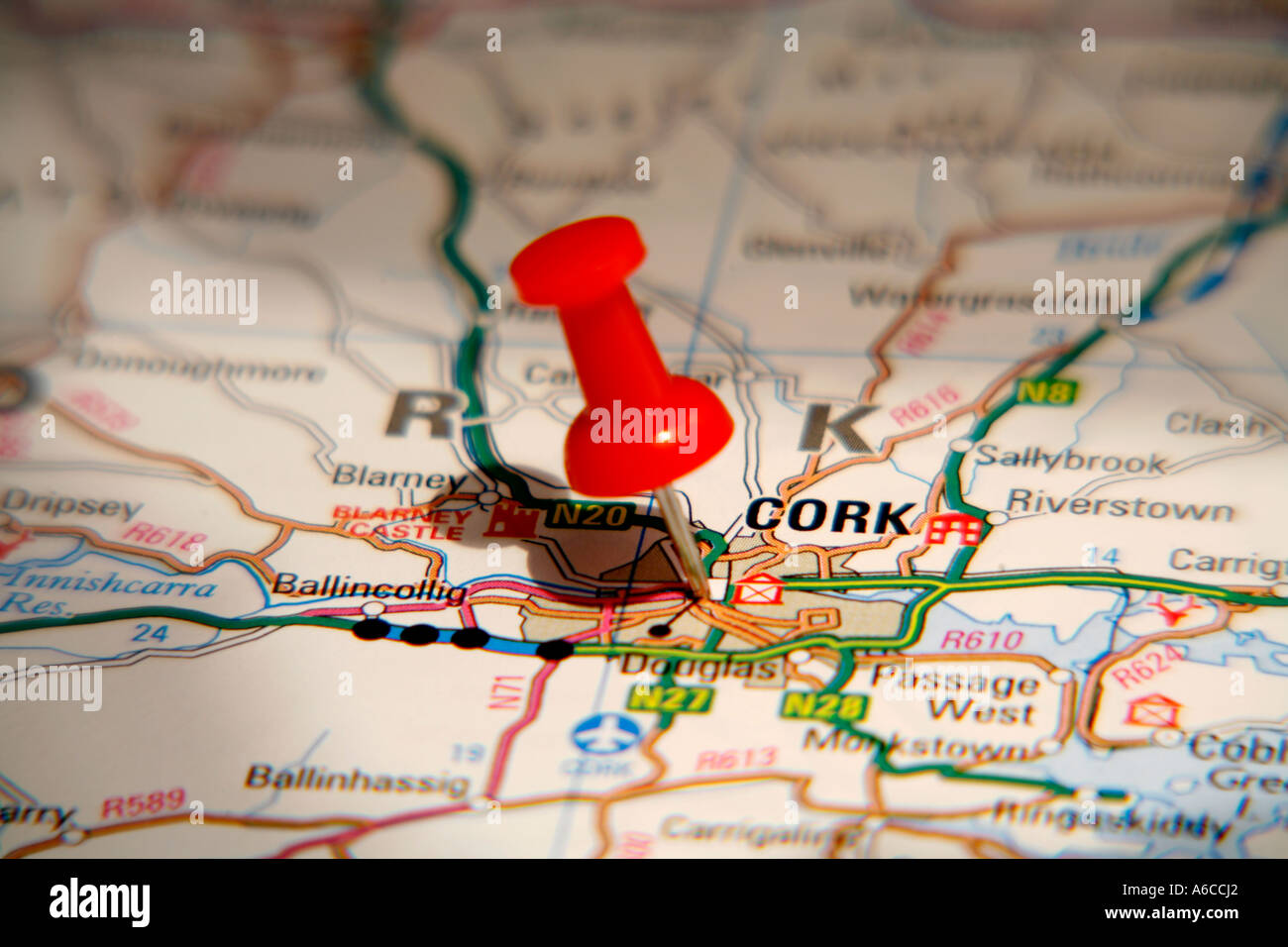 Map pin pointing to cork ireland on a road map stock photo map pin pointing to cork ireland on a road map gumiabroncs Image collections