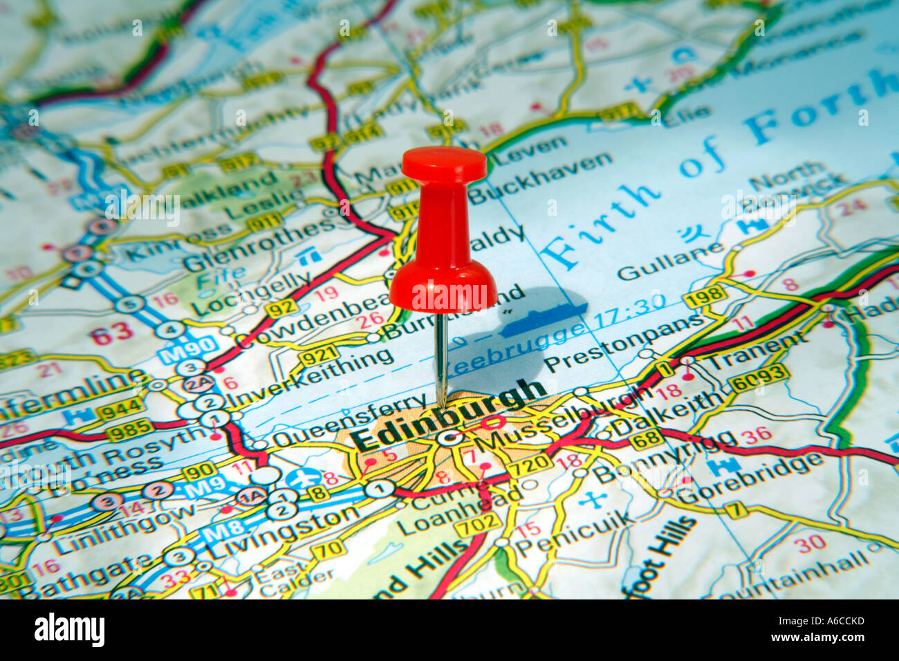 Map Pin pointing to Edinburgh , Scotland on a road map Stock ...
