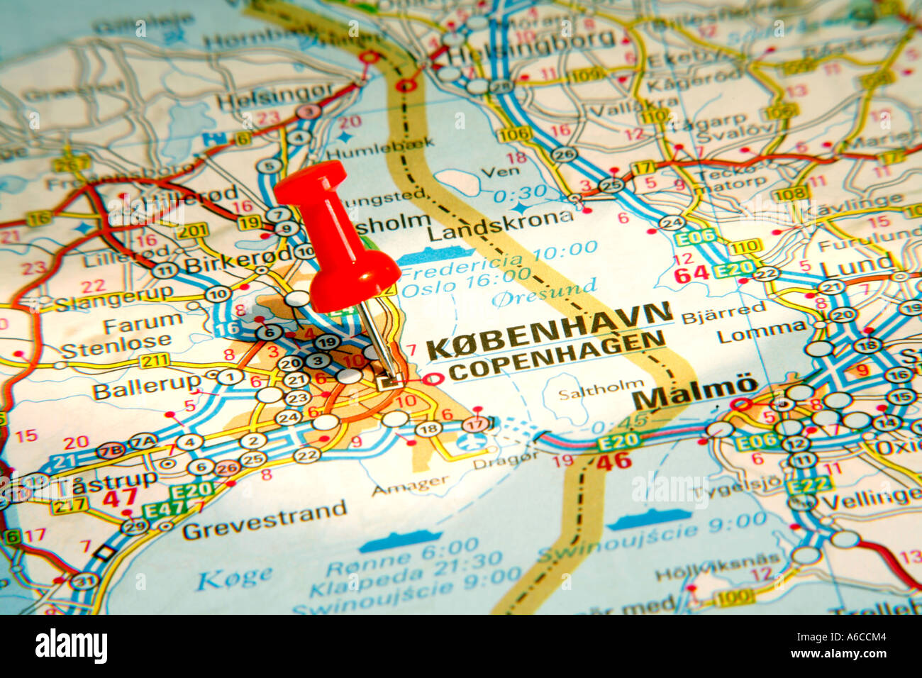 Map Pin pointing to Copenhagen , Denmark on a road map - Stock Image