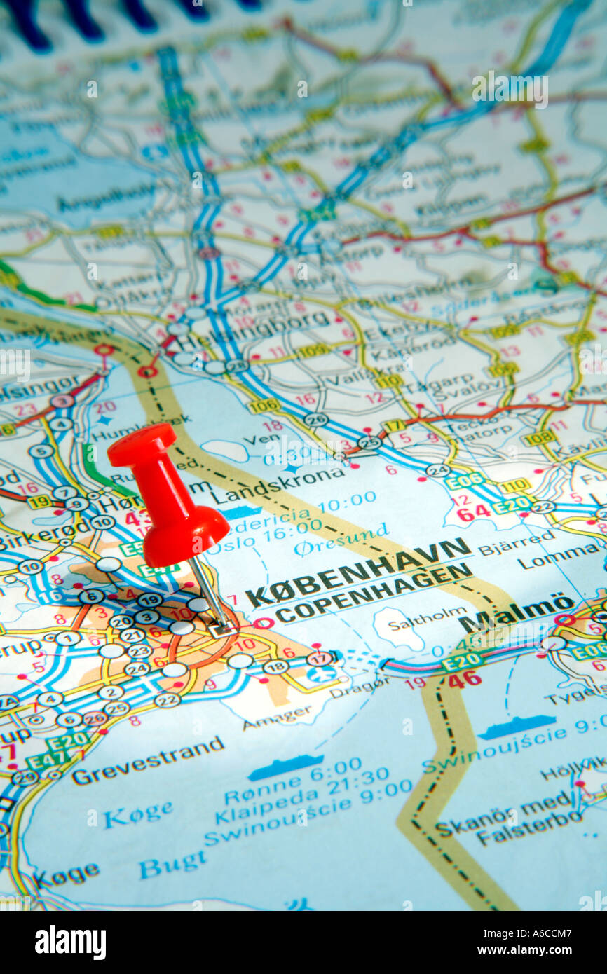 Map Pin pointing to Copenhagen Denmark on a road map - Stock Image