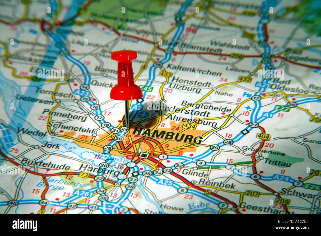 Map Pin pointing to Hamburg , Germany on a road map Stock ...
