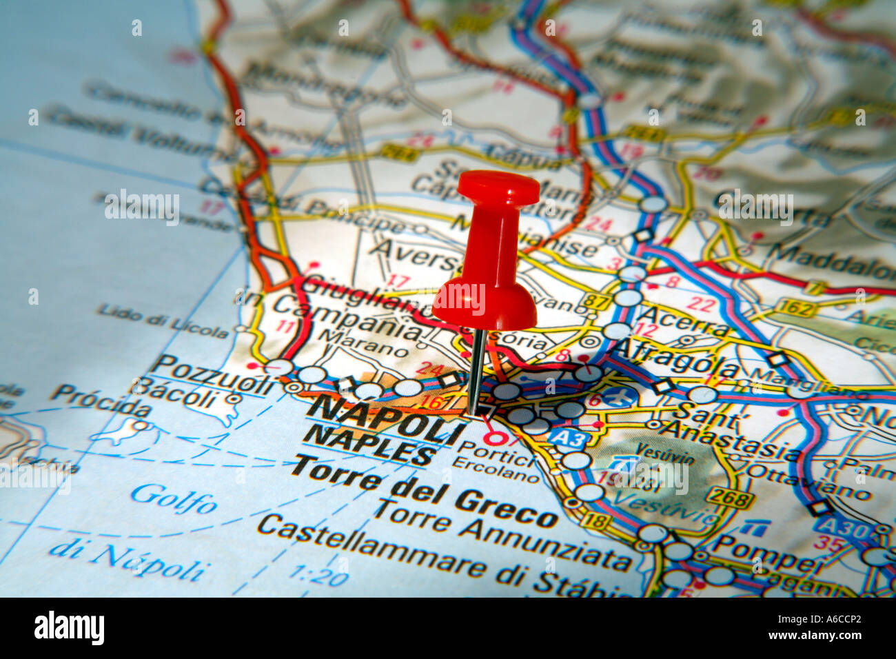 Map Pin pointing to Naples Italy on a road map Stock Photo