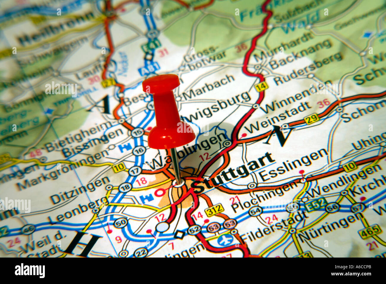 Map Pin pointing to Stuttgart Germany on a road map Stock Photo