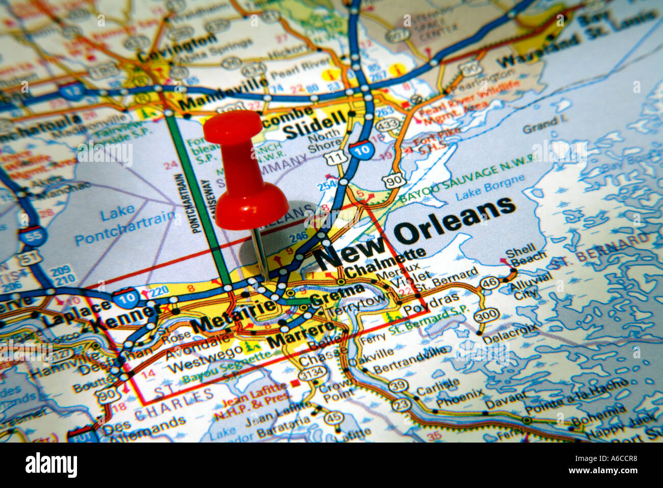 Louisiana New Orleans Map.Map Pin Pointing To New Orleans Louisiana Usa On A Road Map