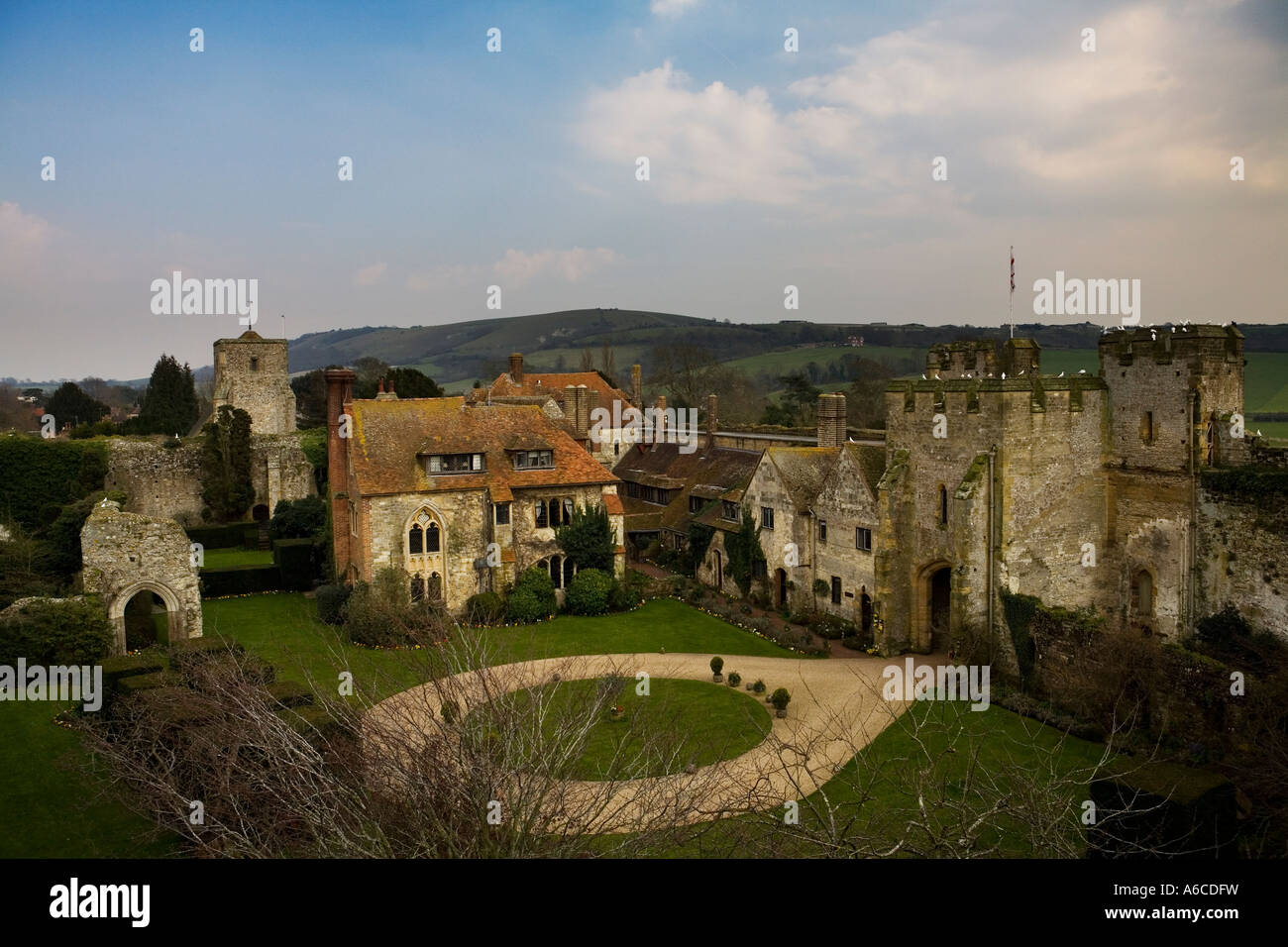 Amberley Castle Hotel West Sussex As viewed from the battlements Stock Photo