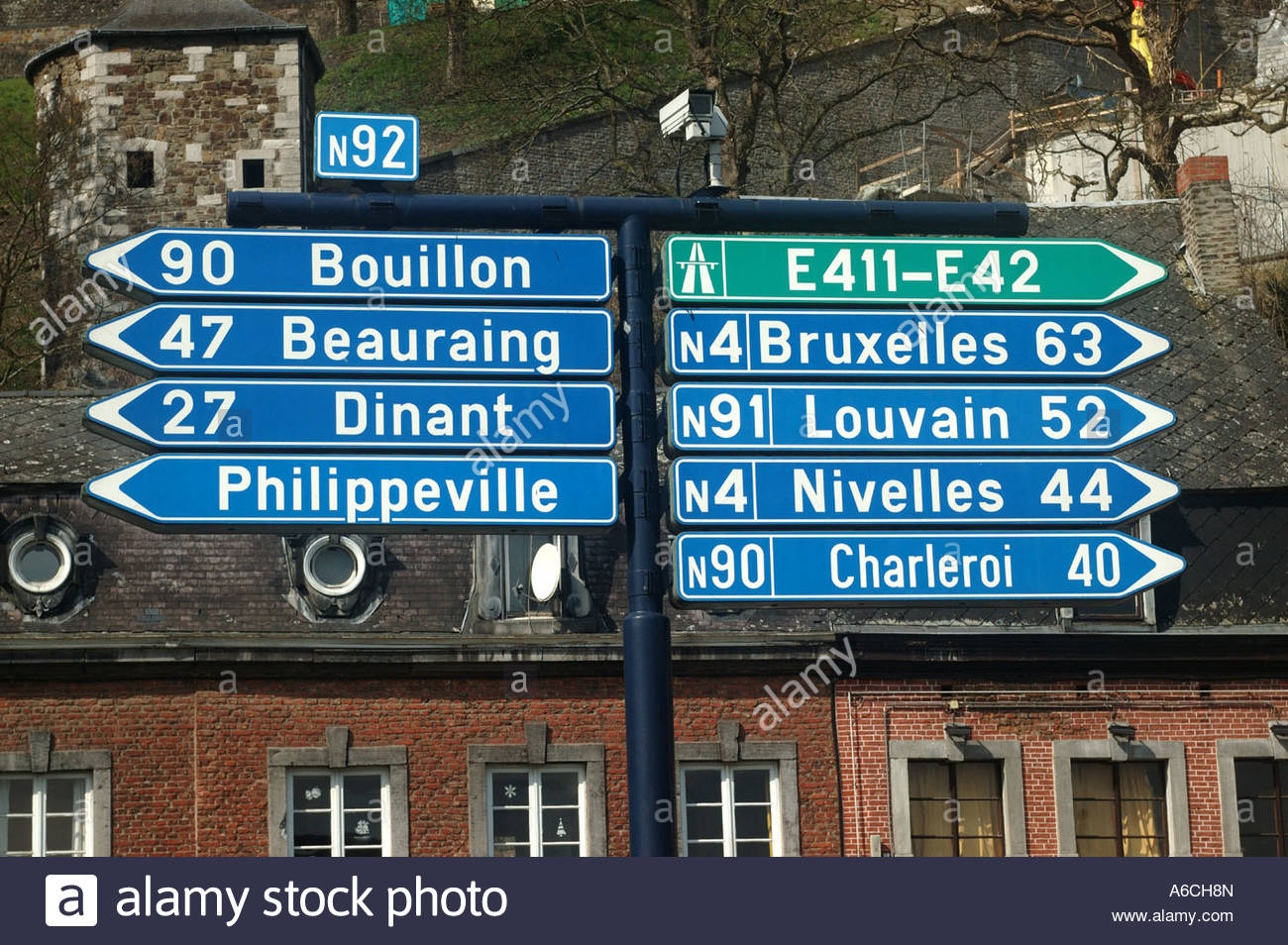 Namur Belgium  Road sign with distances. - Stock Image