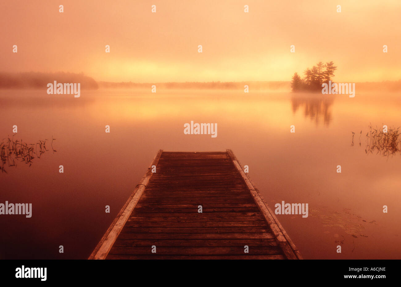 Canada Ontario Mackay Lake sunrise at dawn with wooden pier and island in distance - Stock Image