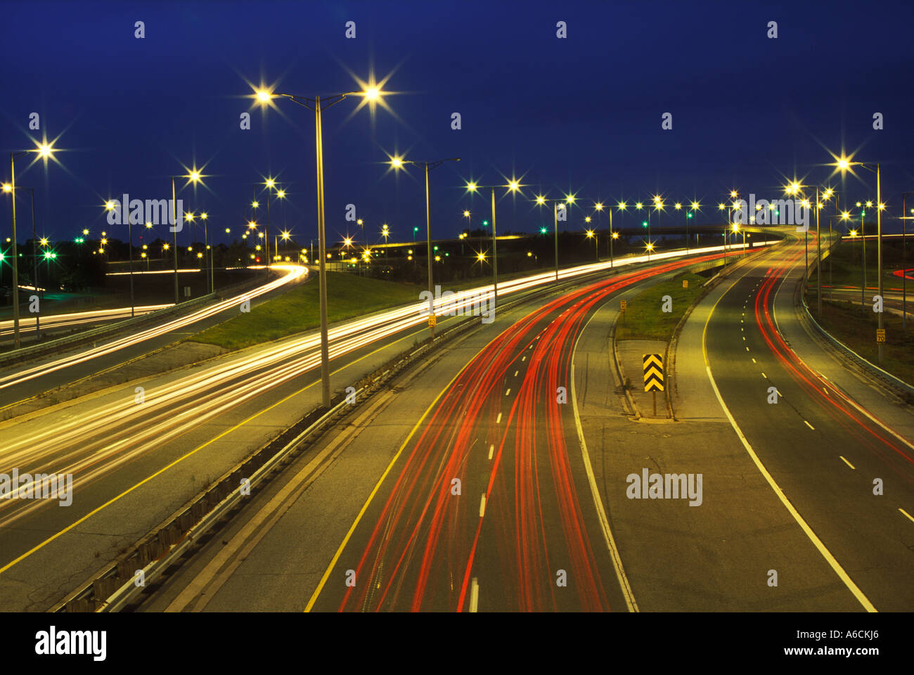 Canada Ontario Niagara Falls time exposure of overview of highway traffic at night - Stock Image