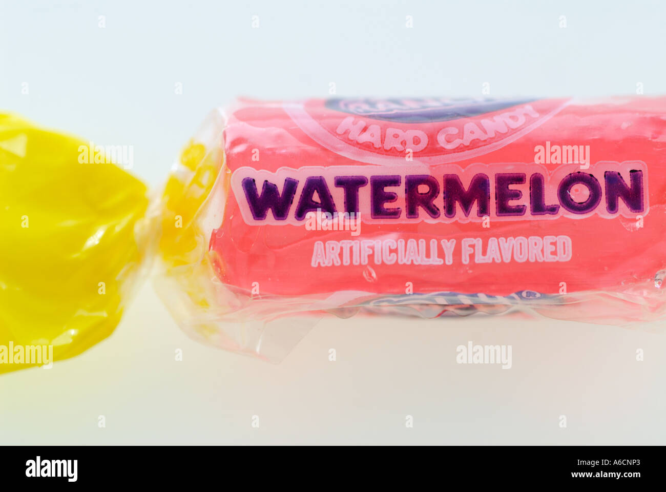 Hard wrapped candy pink watermelon flavour - Stock Image