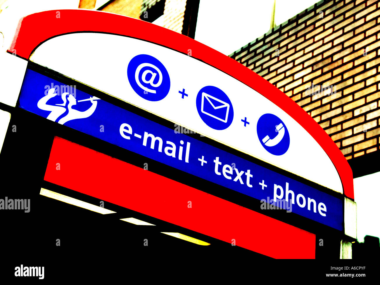 Telephone box with symbols for email text and telephone facilities - Stock Image