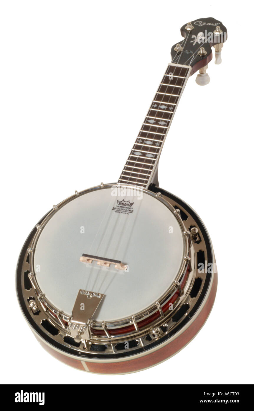 ozark ukulele banjo  studio cutout cut out white background knockout dropout - Stock Image