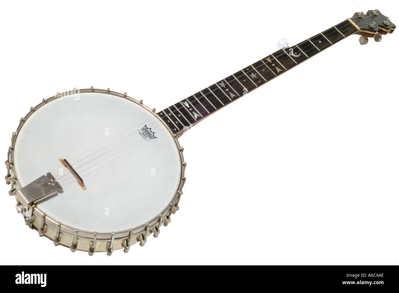J parslow kingston banjo 5 string  studio cutout cut out white background knockout dropout - Stock Image