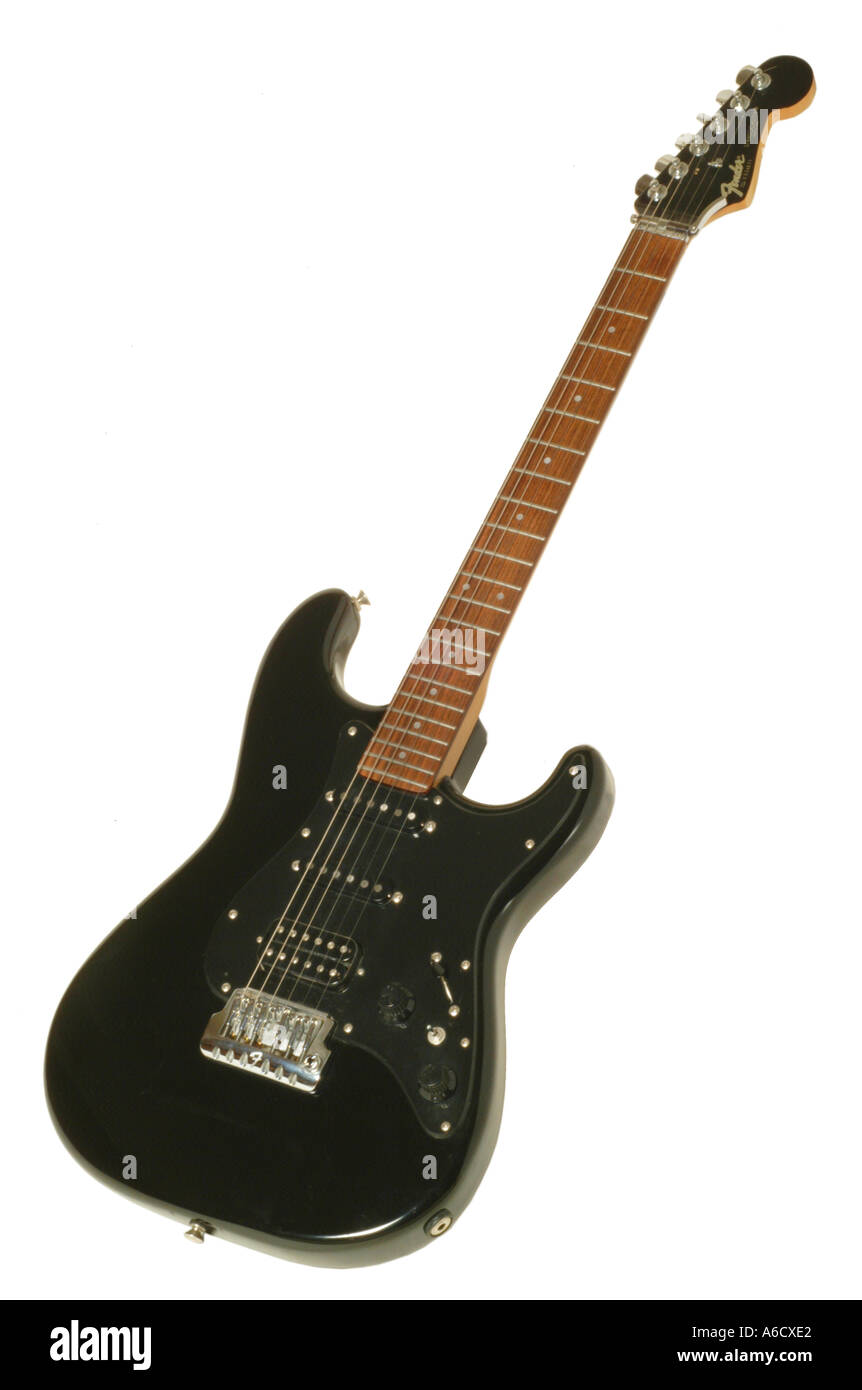 fender stratocaster japonese 70s guitar studio cutout cut out white background knockout dropout - Stock Image