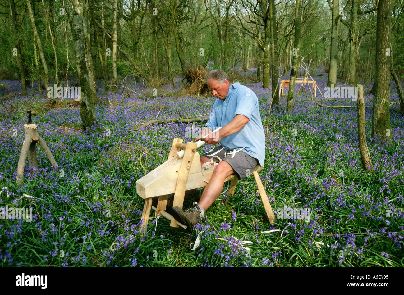 Lovely Green Wood Furniture Maker In Bluebells And Hazel Coppice Dorset UK