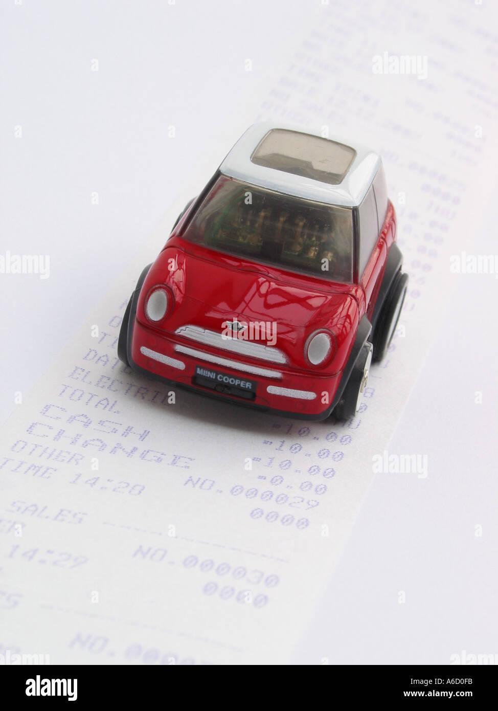 Car driving along a Sales Receipt Stock Photo