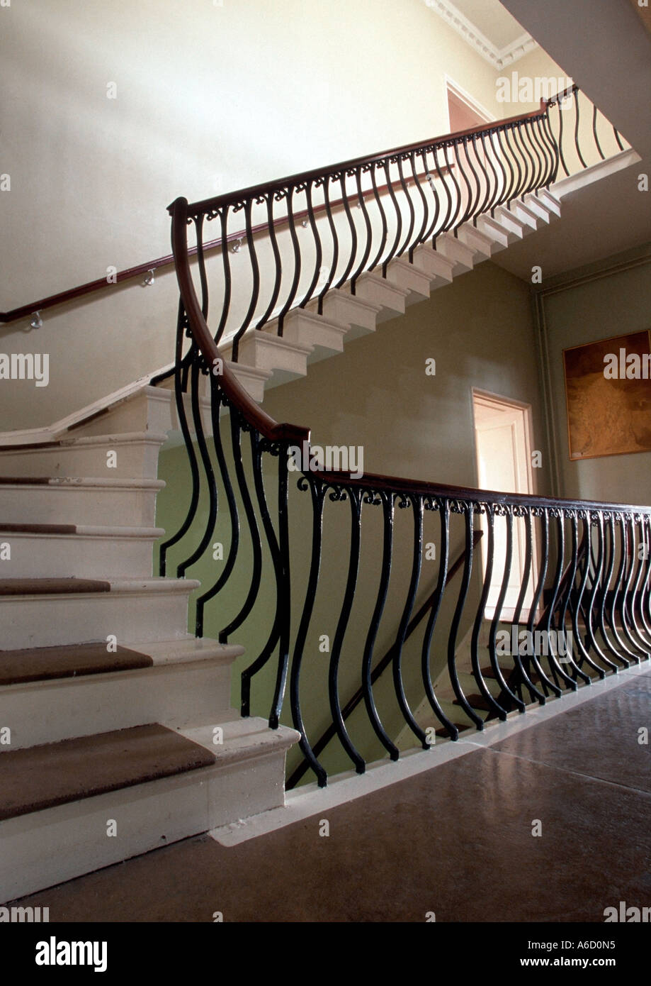 An Internal Staircase With An Cast Iron Banister Stock Photo ...
