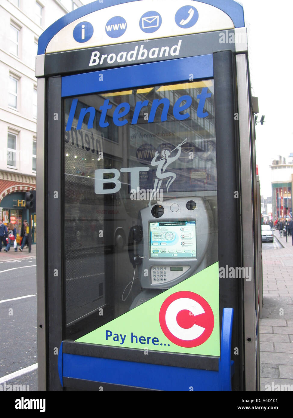 Broadband Internet Access Telephone Box Congestion Charging Payments London England - Stock Image