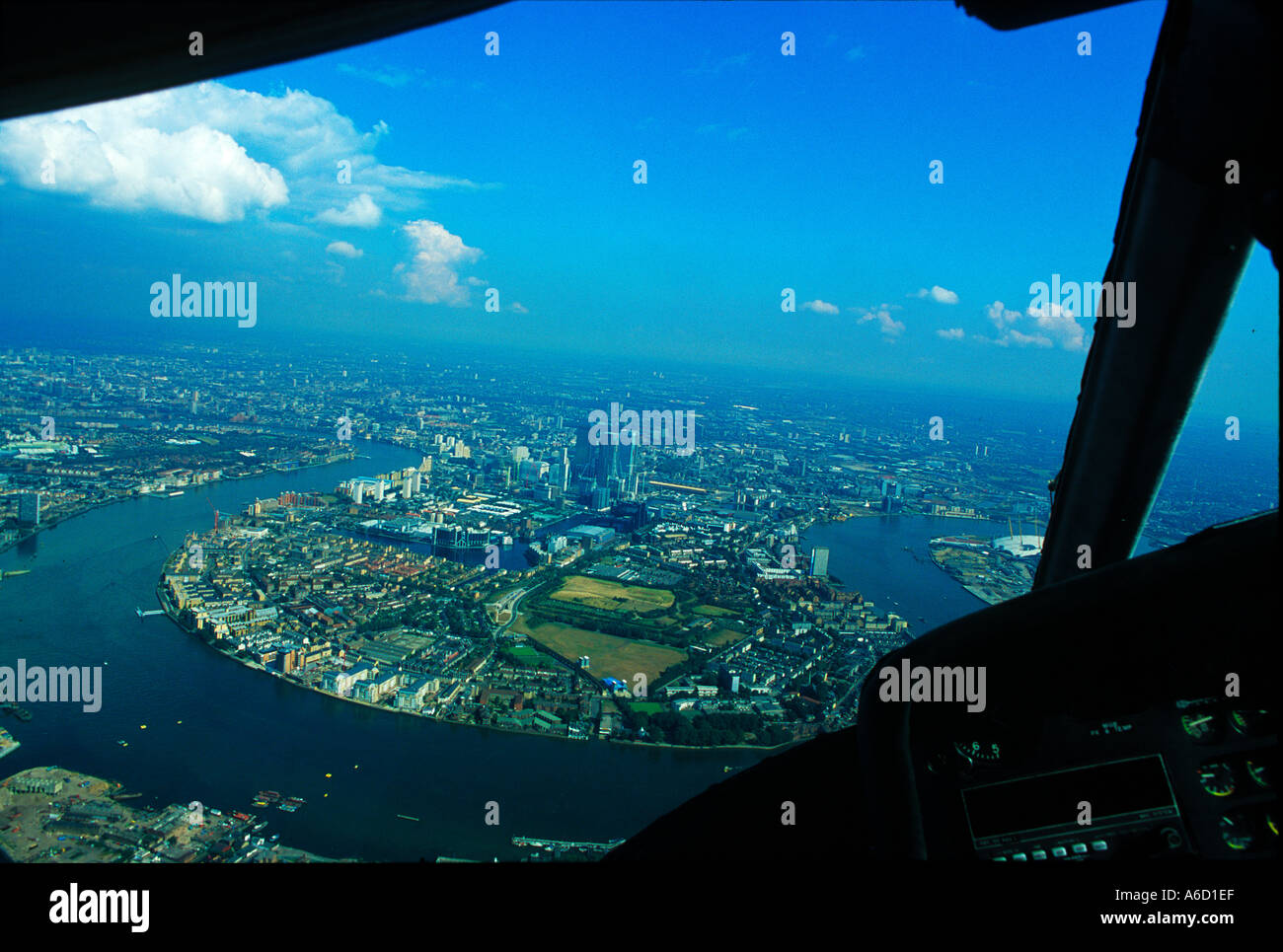 Aerial shot from helicopter of east London UK - Stock Image