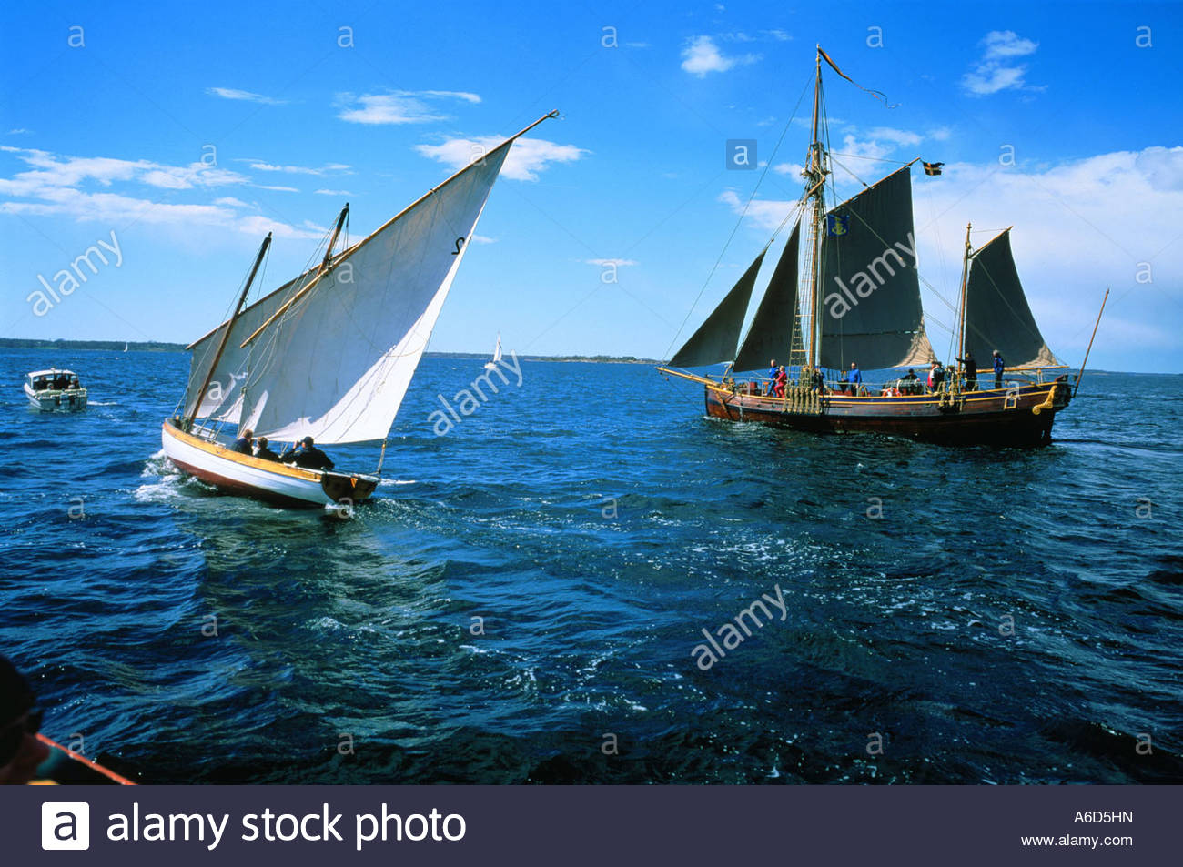 Two sailing vessels at sea Blekinge Sweden - Stock Image