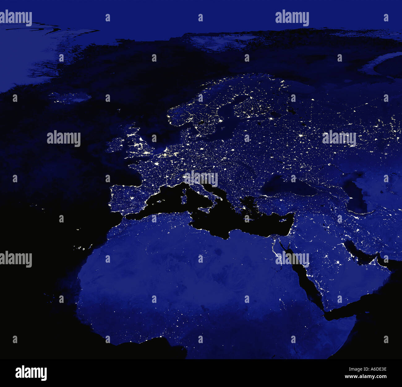 Satellite Image Of Europe At Night City Lights Visible