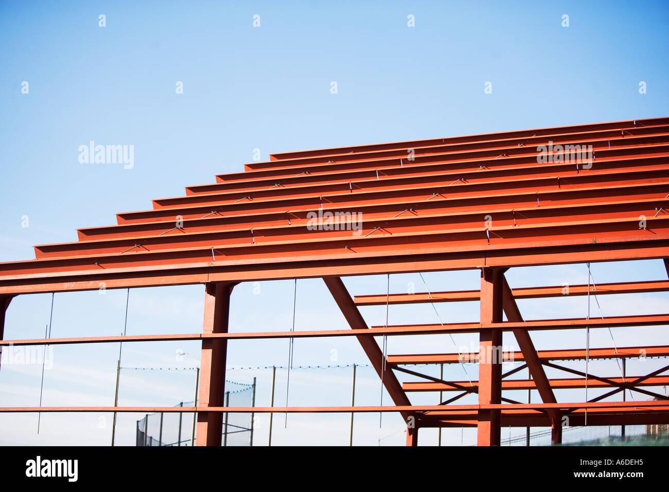 NEW BUILDING FRAMING, STEEL FRAMING, CONSTRUCTION Stock Photo ...