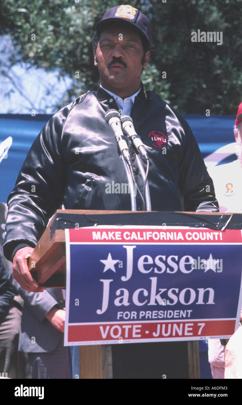 6217 Reverend Jesse Jackson campaigns for President of the United States of America - Stock Image