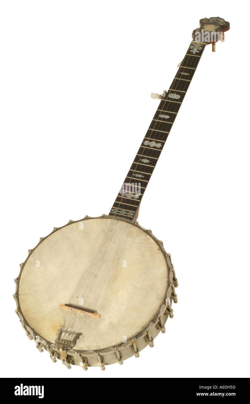 clifford essex london popular banjo studio cutout cut out white background knockout dropout - Stock Image