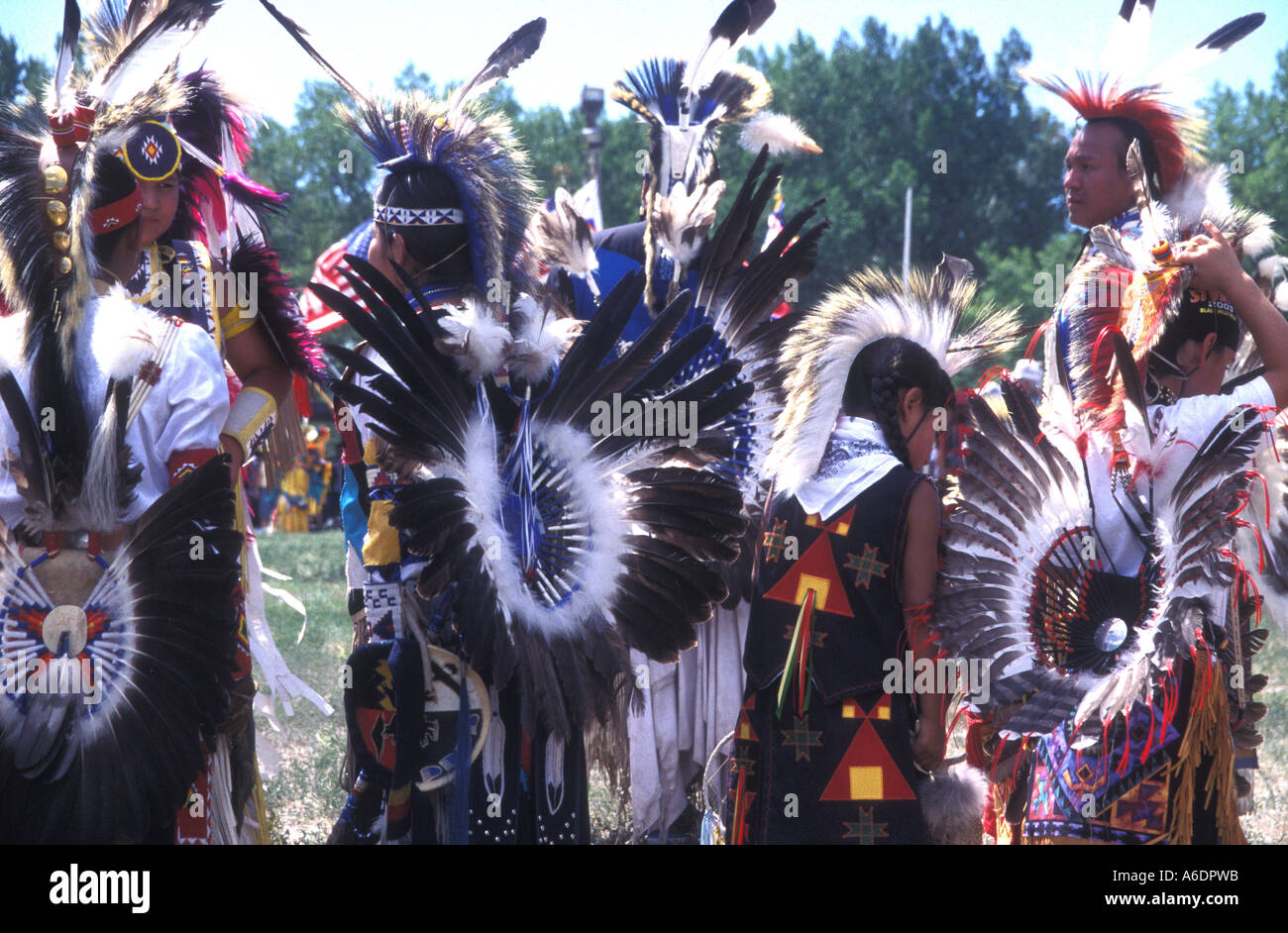 A group of Oglala Sioux gather at a traditional powwow - Stock Image
