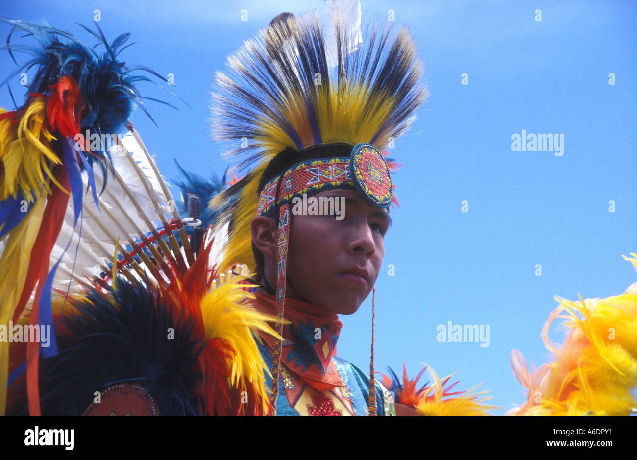 A young Sioux tribal member in traditional dress at a powwow in South Dakota - Stock Image