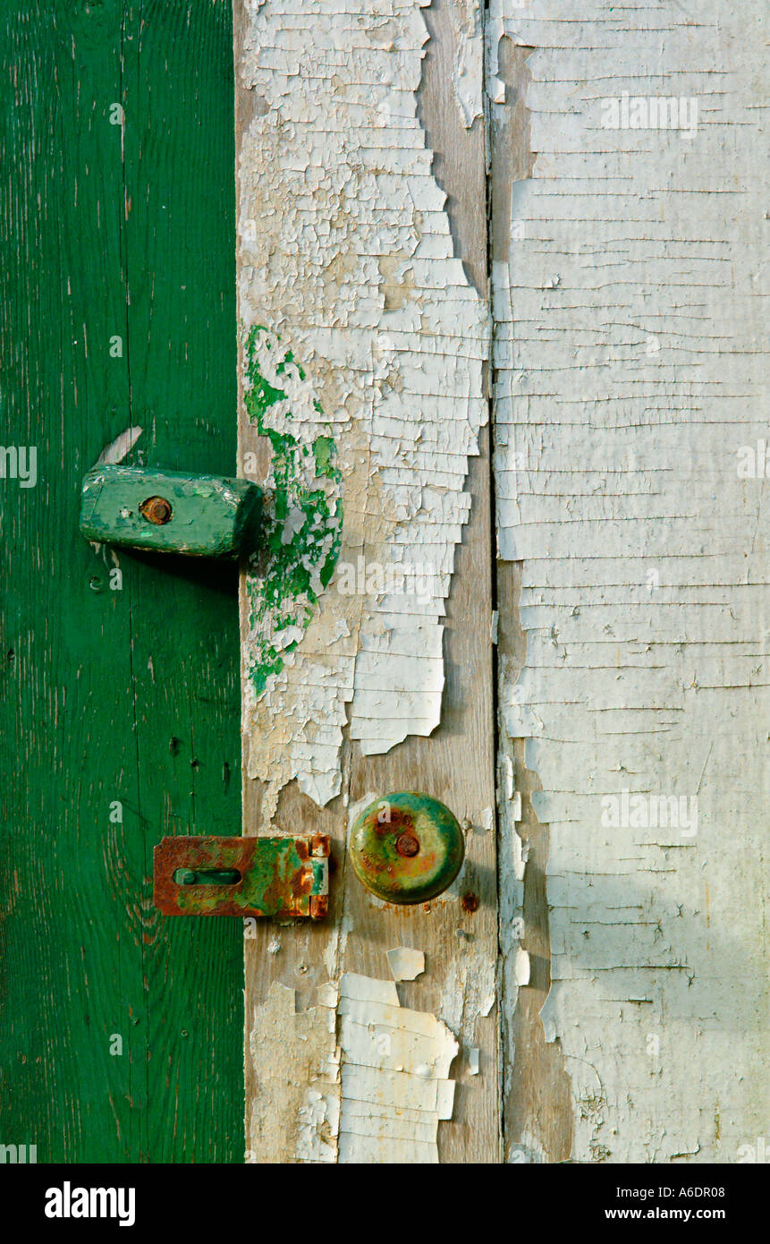 Chipped Pealing Paint On An Old Worn Shed Door Doorknob Latch Rusted Rusty