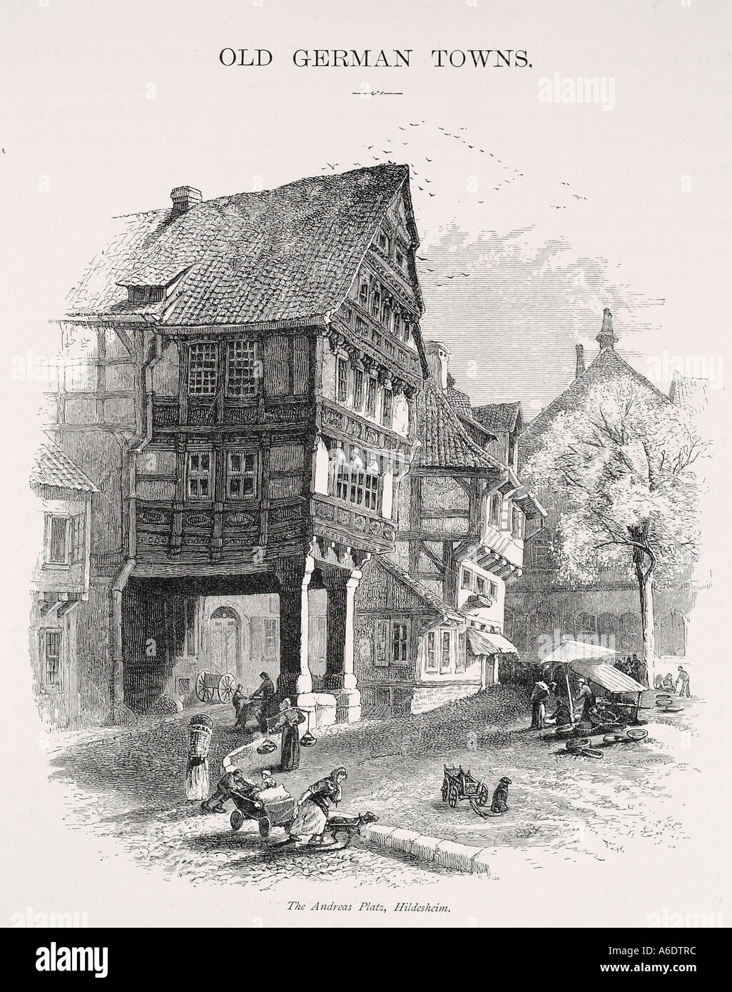 Hildesheim Germany Lower Saxony Geography Travel medieval half timber square Europe dwelling house street road - Stock Image