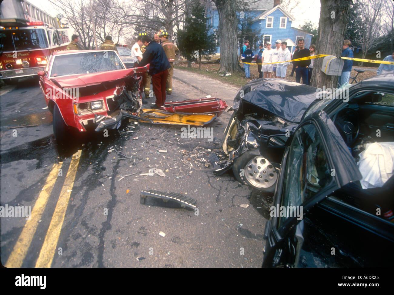 motor vehicle accident scene car crash mva mvc collision wreck Stock ...