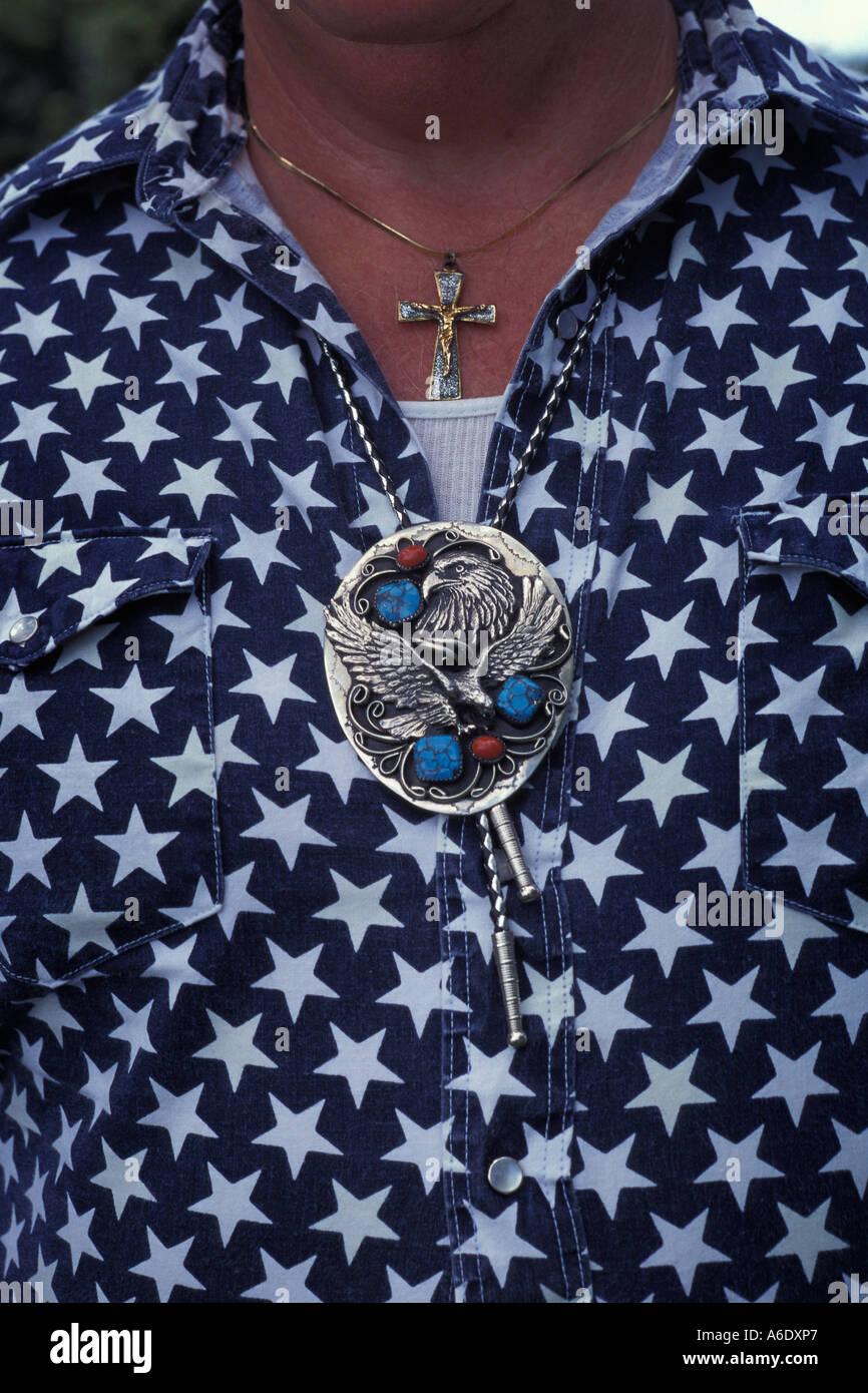 Western bolo tie and silver medallion - Stock Image