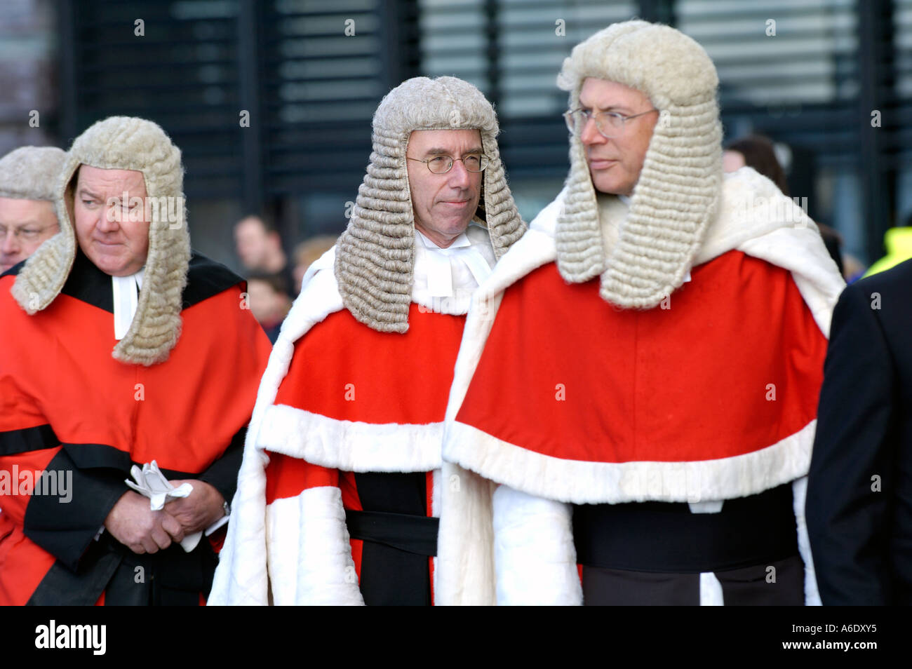 Members of the Judiciary arrive for the opening of the Senedd National Assembly for Wales, Cardiff Bay, South Wales, UK - Stock Image