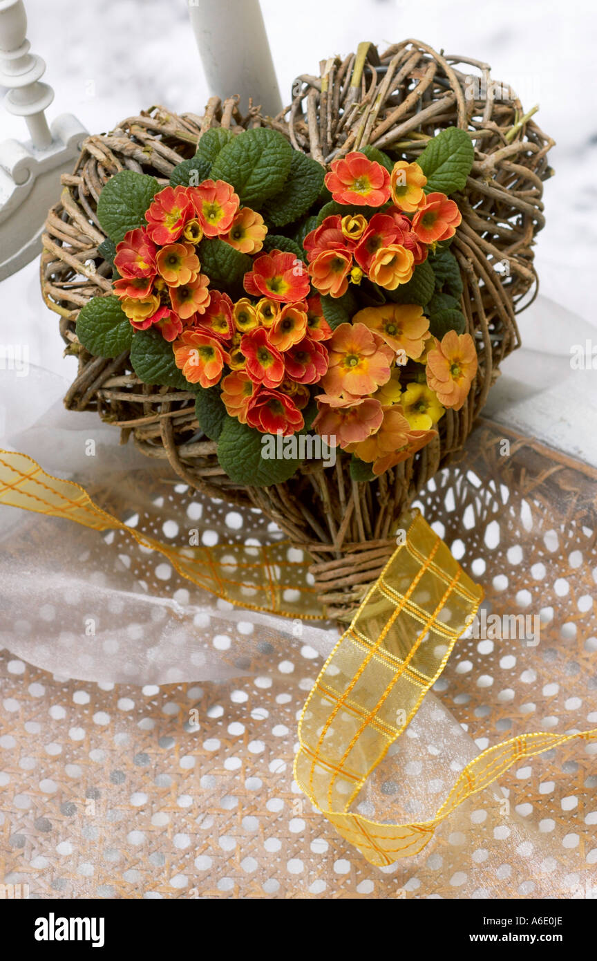 Floristic work with primroses and wound heart for valentine's day Stock Photo